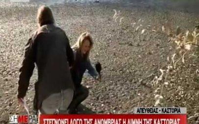 Δημοσιογράφος του ΣΚΑΪ βούλιαξε στη λίμνη της Καστοριάς σε ζωντανή σύνδεση (video)