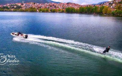 Σκι στη λίμνη της Κατοριάς και βουτιά από το γαμπρό