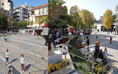 Εικόνες από την κεντρική πλατεία της Κοζάνης-Πολλοί μαθητές στη βόλτα