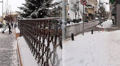 Παγωμένα πεζοδρόμια -Αρκετό χιόνι στα στενά της Κοζάνης