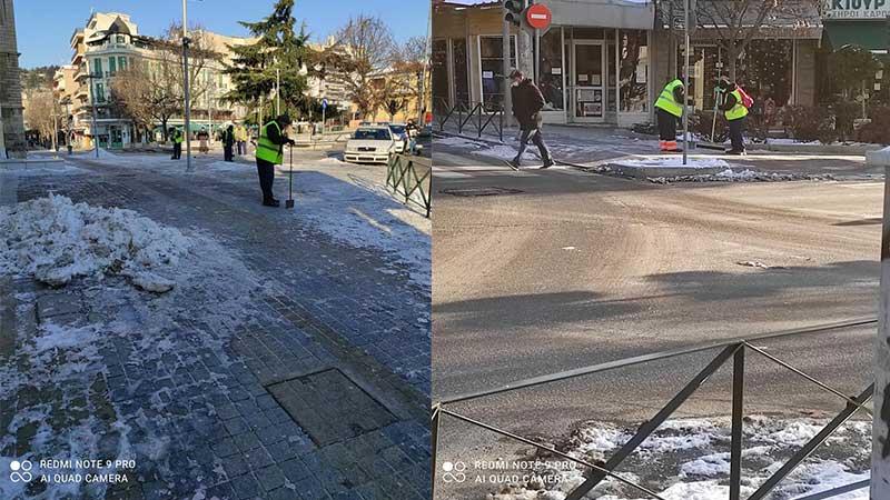 Οι υπάλληλοι του Δήμου Κοζάνης αφαιρούν τον πάγο από πλατείες και πεζοδρόμια