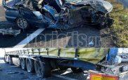 Τροχαίο στην Εγνατία Βέροιας – Θεσσαλονίκης- Ι.Χ. πέρασε κάτω από φορτηγό