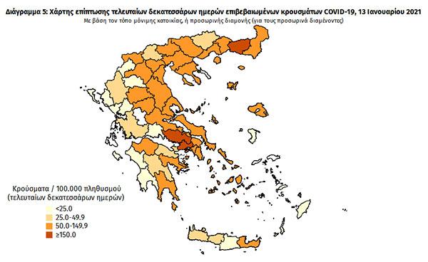 Νέα Μείωση Κρουσμάτων στην Π.Ε. Καστοριάς: Στο «λευκό» βρίσκεται σύμφωνα με τον Χάρτη Γεωγραφικής Διασποράς του ΕΟΔΥ