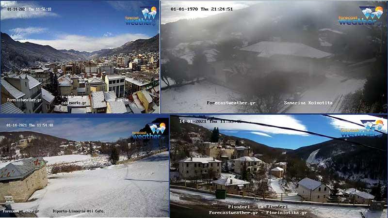 Δείτε χιονισμένα τοπία από τη Σαμαρίνα Γρεβενών, το Πισοδέρι, την Φλώρινα και το Νυμφαίο