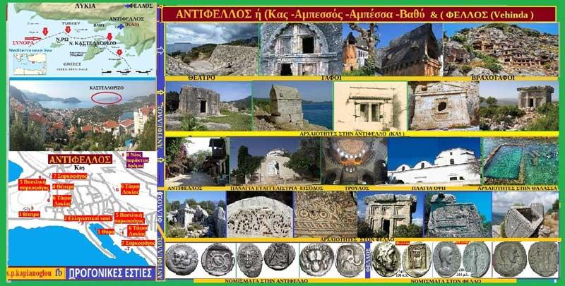 Δυο αρχαίες ελληνικές πόλεις απέναντι από το Καστελόριζο-Αντίφελλος ή (Κας -Αμπεσσός -Αμπέσσα -Βαθύ ) & Φελλός (Vehinda )