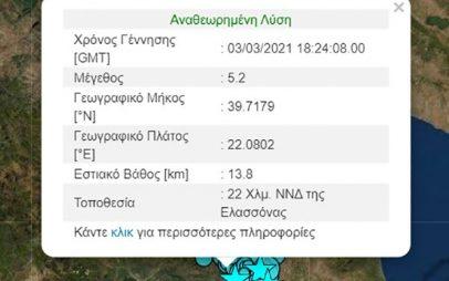 Ισχυρή μετασεισμική δόνηση μεγέθους 5,2 Ρίχτερ στην Ελασσόνα λίγο μετά τις 20:00