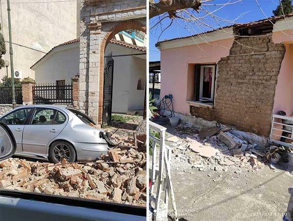 Εικόνες κοντά στο επίκεντρο του σεισμού στον Τύρναβο