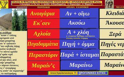 Λέξεις και φράσεις της Ποντιακής διαλέκτου με αρχαιοελληνικές ρίζες: 1.Ανοιγάρια ,2. Εκ΄σεν 3. Αχλόϊα, 4.Πεγαδομμάτι͜α 5. Παραστάρ , 6. Μαραίν'ς