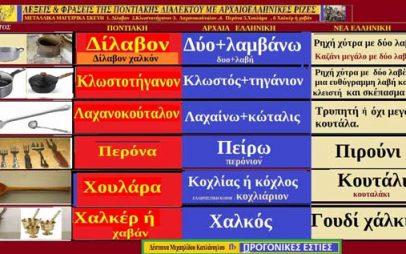 Ποντιακές λέξεις με αρχαιοελληνική προέλευση:1. Δίλαβον 2.Κλωστοτήγανον 3. Λαχανοκούταλον ,4. Περόνα 5.Χουλάρα , 6 Χαλκέρ ή χαβάν