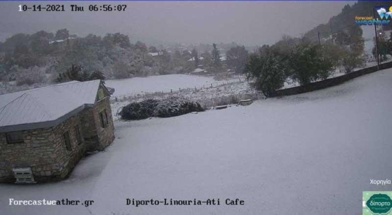 Live χιονόπτωση από το Χ.Κ Πισοδερίου